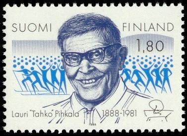 Tahko Pihkala postimerkissä. Wikimedia Commons.